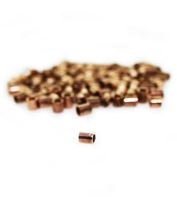 585CP-50 = COPPER PLATED CRIMP TUBE 2x1.8mm with 1.3mm HOLE (Pkg of 100)