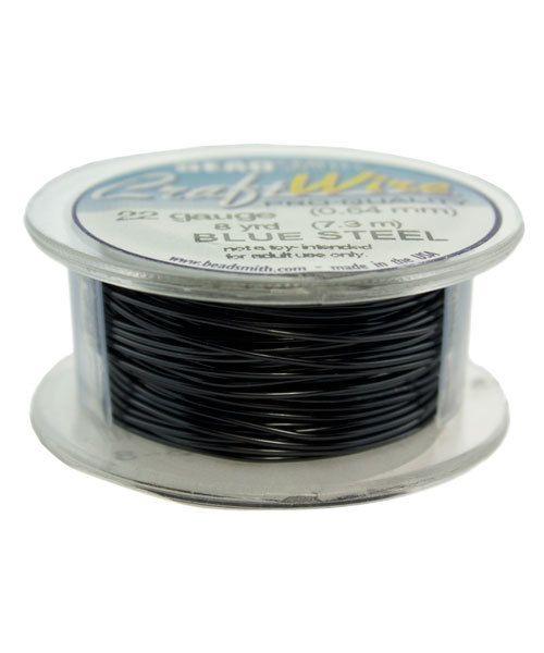 WR6722BS = Craft Wire Tarnish Resistant Blue Steel Round Wire 22ga 8 Yards
