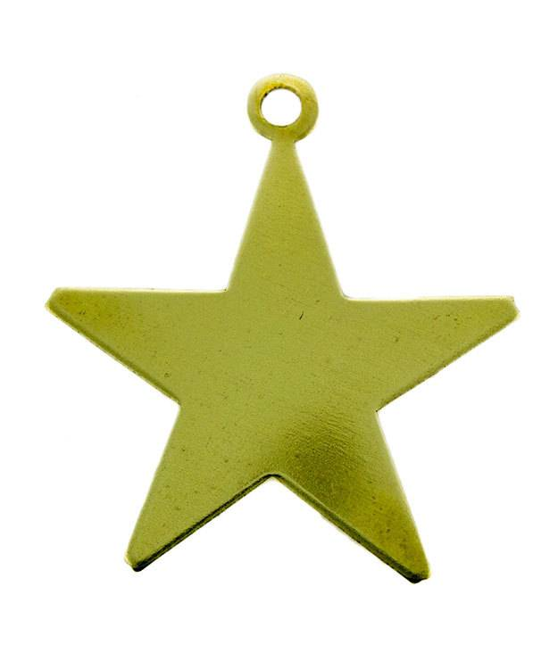 MSBR53024 = BRASS SHAPE - STAR with RING  7/8'' 24ga (Pkg of 6)
