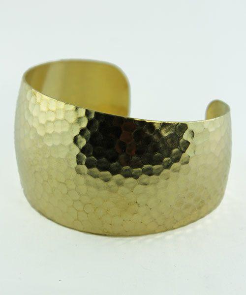 MSBR1043 = Hammered Domed Brass Cuff Bracelet 1-3/8'' Wide