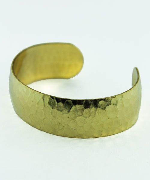 MSBR1041 = Hammered Domed Brass Cuff Bracelet 3/4'' Wide