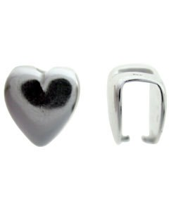 910S-41 = Pinch Bail Heart Shape Sterling Silver 10.5mm High (Each)
