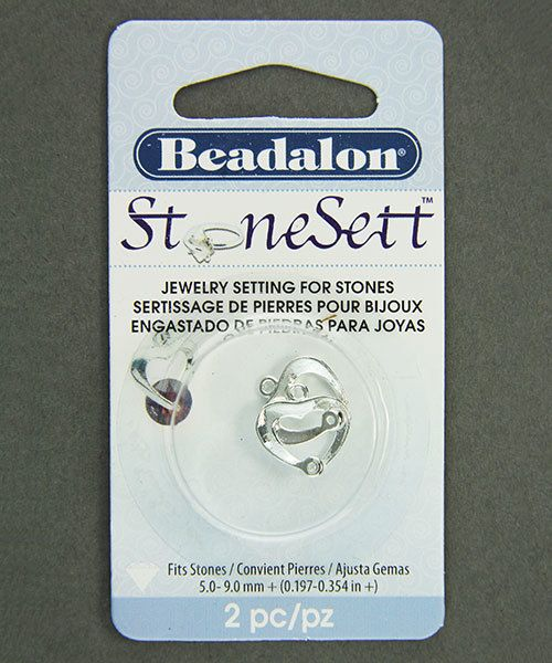 3203SP = StoneSett Tension Mount by Beadalon Drop Wide Heart Loop, fits 5-9.0mm stones, 2pcs