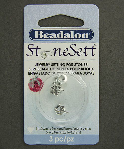 3205SP = StoneSett Tension Mount by Beadalon Drop Small Bow, Loop, fits 5.5-8.0mm stones, 3pcs