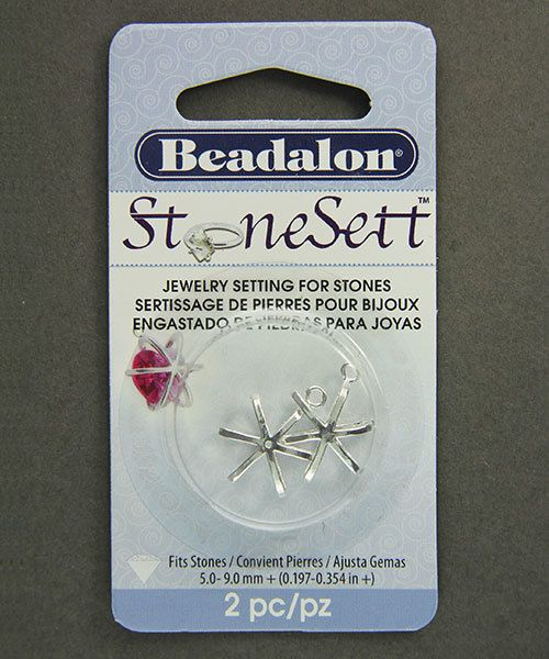 3210SP = StoneSett Tension Mount by Beadalon Small 6pt Bead Cage, Loop, fits 8.0mm beads, 2pcs