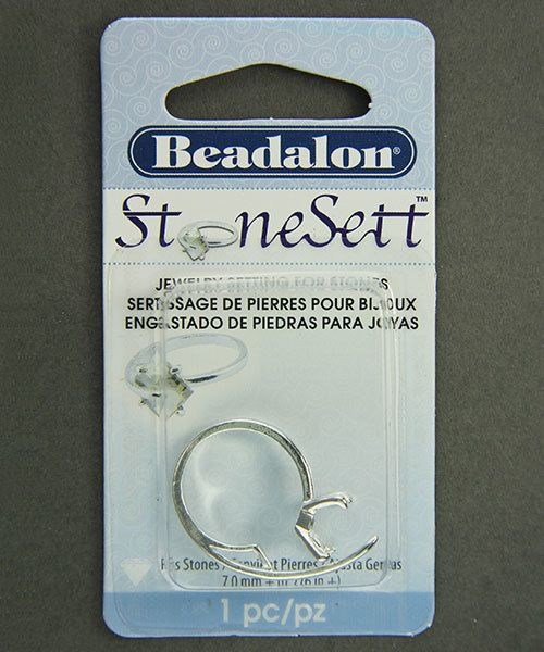 3214SP = StoneSett Tension Mount Ring by Beadalon Pin sz 4.5-7.5, fits 8.0mm beads/7.0mm stone, 1pc