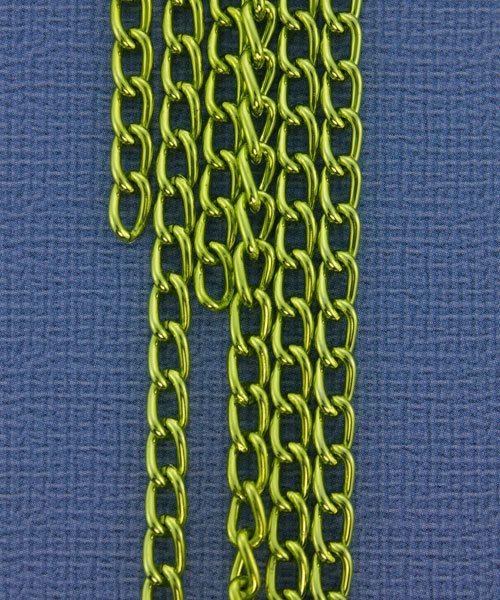 800AL-063AG = Aluminum Curb Chain Apple Green 6 x 3.6mm Wide 5 feet Long