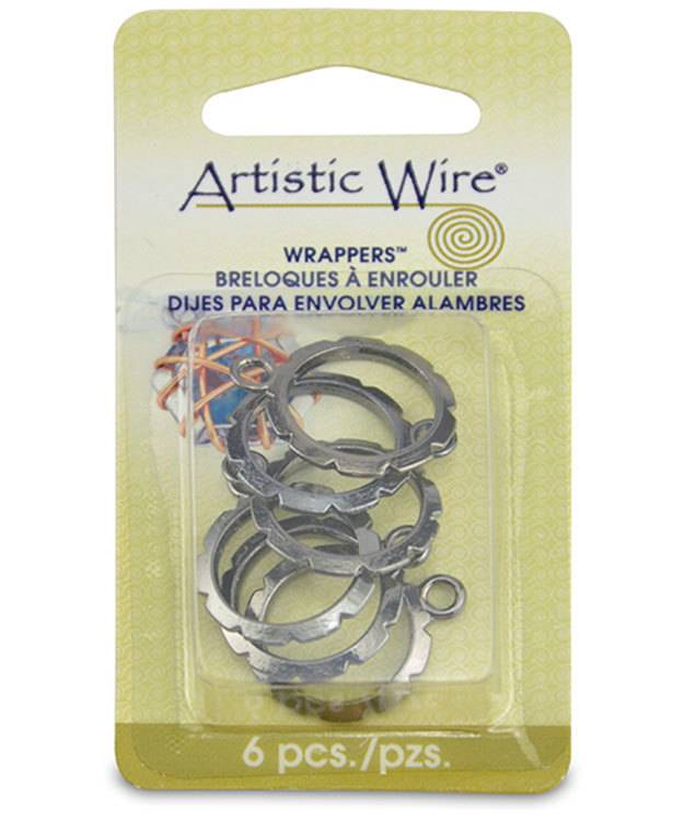810HC-01 = Wrapper 13.5mm Round by Artistic Wire Hematite Color (Pkg of 6)