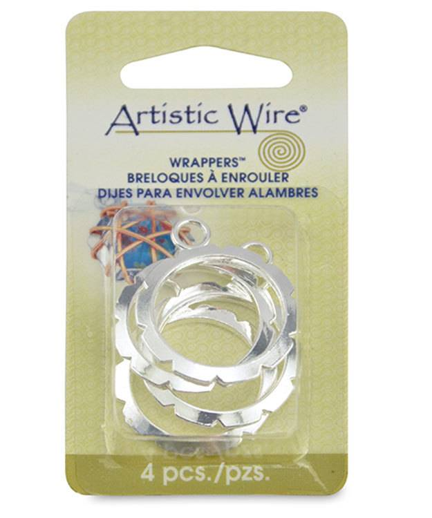 810SP-02 = Wrapper 21.8mm Round by Artistic Wire Silver Plated (Pkg of 4)
