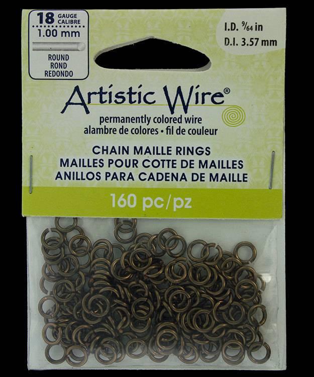 "900AWM-04 = Artistic Wire Gun Metal Color Jump Ring 3.5mm ID (9/64"") 18ga"