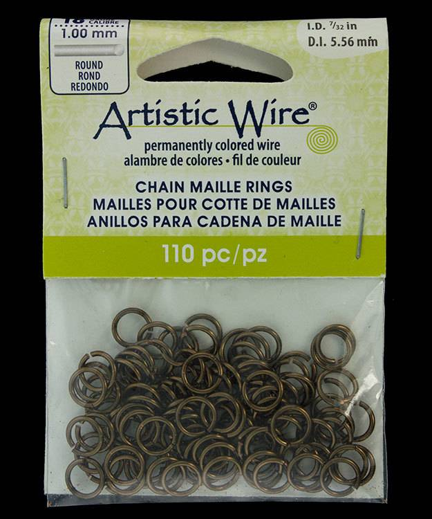 "900AWM-08 = Artistic Wire Gun Metal Color Jump Ring 5.5mm ID (7/32"") 18ga"