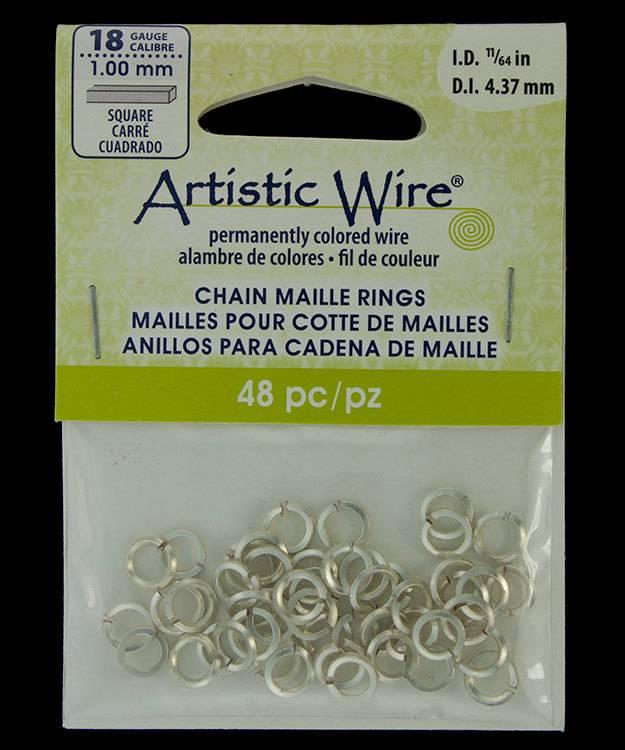 """900AWSQ-06 = Artistic Wire Square Wire Silver Color Jump Ring 4.3mm ID (11/64"""") 18ga"""