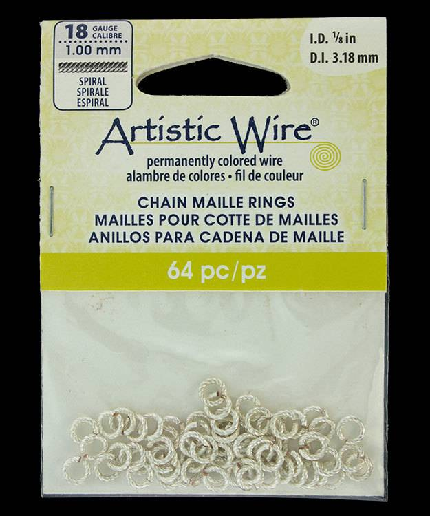 "900AWSS-03 = Artistic Wire Spiral Wire Silver Color Jump Ring 3.1mm ID (1/8"") 18ga"