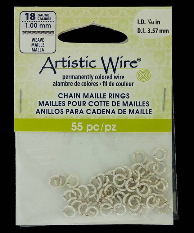 """900AWSW-04 = Artistic Wire Weave Silver Color Jump Ring 3.5mm ID (9/64"""") 18ga"""