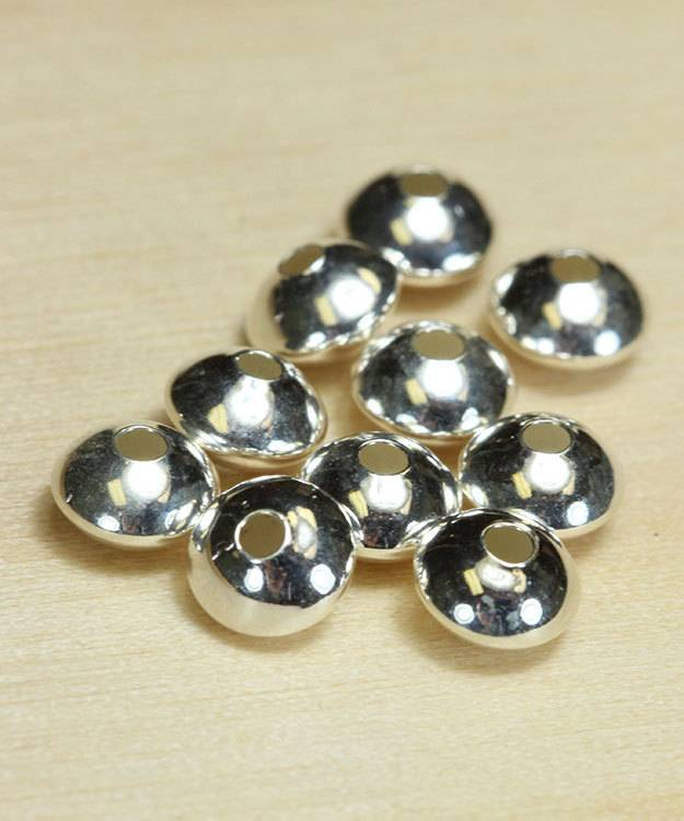 ABS-S5 = Saucer Shaped Bead Sterling Silver 5mm (Pkg of 20)