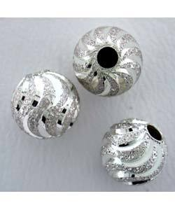 "ABS-SS06 = Sterling Silver Satin Bead with ""S"" Diamond Cut 6mm (Pkg of 10)"