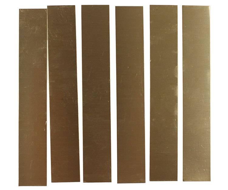 """BS28-1 = Red Brass Sheet 28ga  1"""" x 6""""  0.32mm Thick  (Pkg of 6)"""