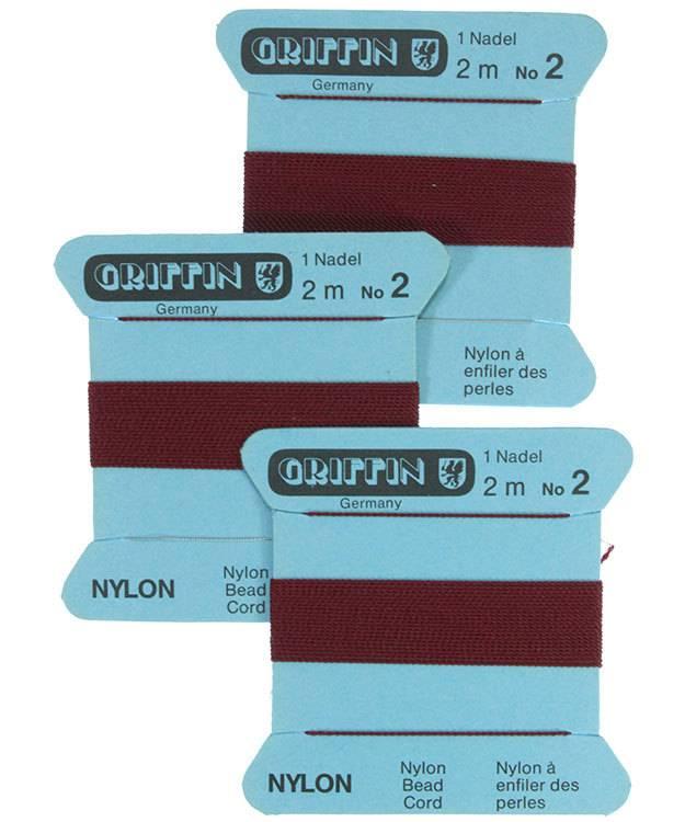 CD132 = Garnet Nylon Beading Cord #2 (Pkg of 3)
