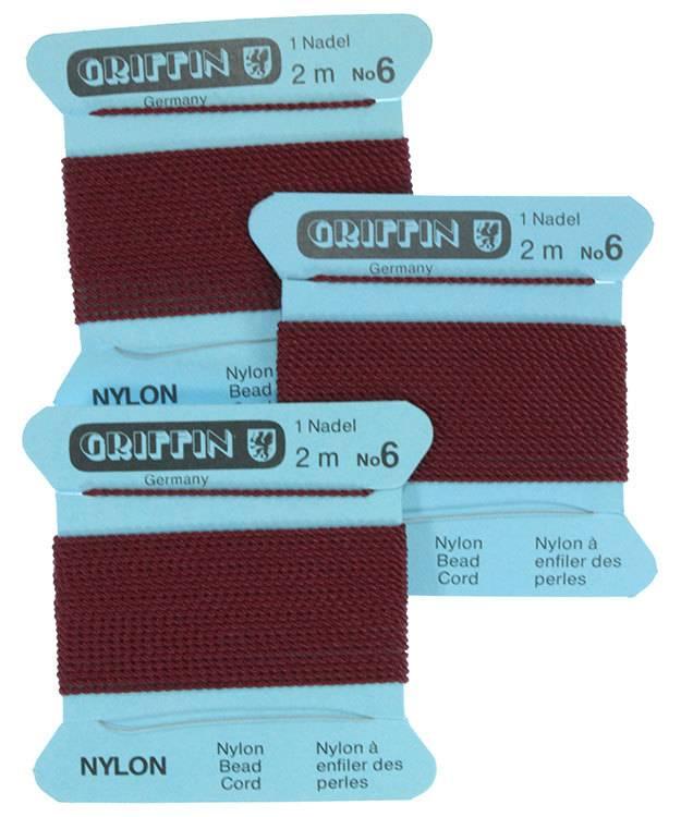 CD136 = Garnet Nylon Beading Cord #6 (Pkg of 3)