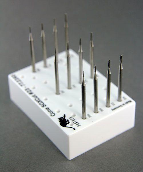 Panther Burs 18.107G = CONE SQUARE CROSS CUT BUR SET 12pcs (0.6 to 2.1mm)