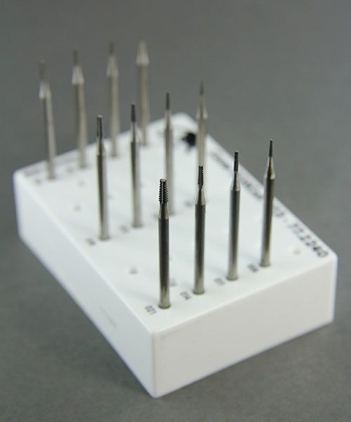 18.107G = CONE SQUARE CROSS CUT BUR SET 12pcs (0.6 to 2.1mm)