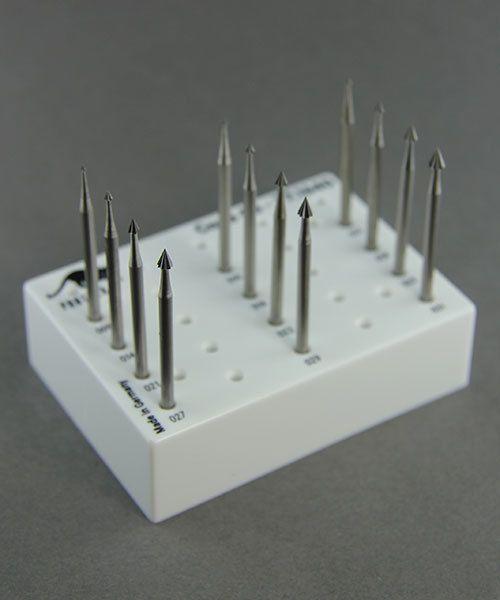 18.111G = CONE BUR SET TUNGSTEN/VANADIUM  (0.9 to 3.1mm) 12pcs