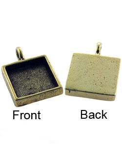3000GP-31 = Square Pendant 5/8'' dia Gold Plated with Bail