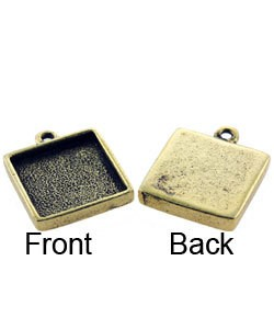 3000GP-33 = Square Pendant 1/2'' dia Gold Plated with Ring