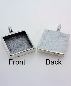 3000SP-31 = Square Pendant 5/8'' dia Silver Plated with Bail