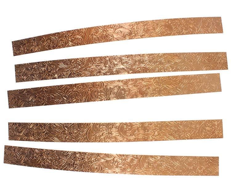 "CSP345 = Patterned Copper Strips 6"" x 1/2""  24ga (Pkg of 5)"