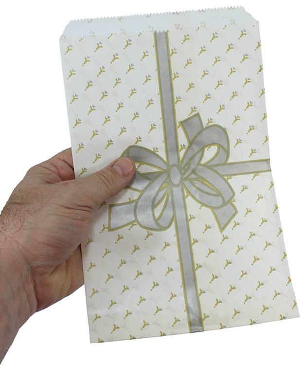 "DBG1134 = Paper Gift Bag Silver Bow Pattern 6"" x 9"" (Bundle of 100)"