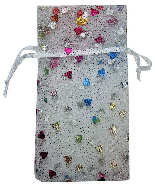 "DBX1293H = Organza Drawstring Pouches White with Multi Color Hearts 3""x4"" (Dozen)"