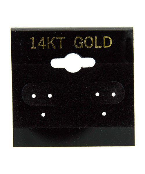 """DER701 = Hanging Earring Cards Black 1-1/2"""" """"1.514K GOLD"""" Imprint (Pkg/100)"""