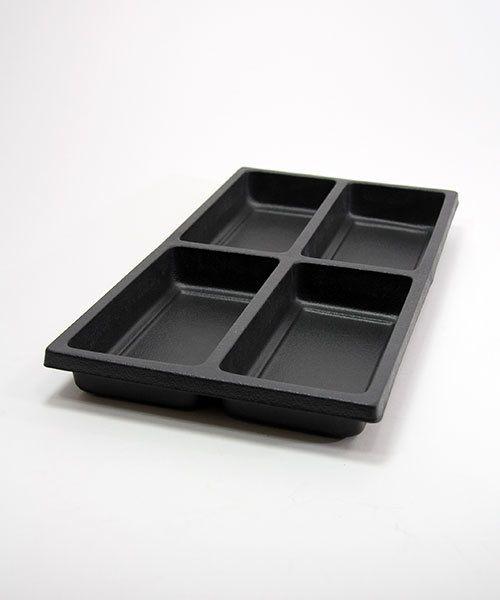 "DIS1804 = Plastic Tray Insert 4 Spaces 1-3/8"" Deep - Black"