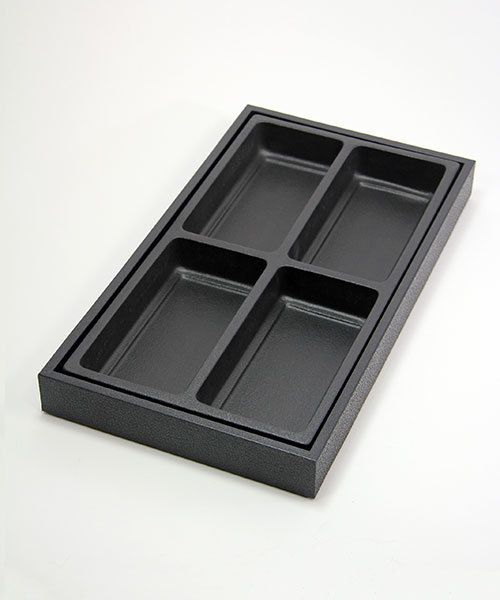 "DIS1804 = Plastic Tray Insert 4 Spaces 1-3/8"" Deep - Black"