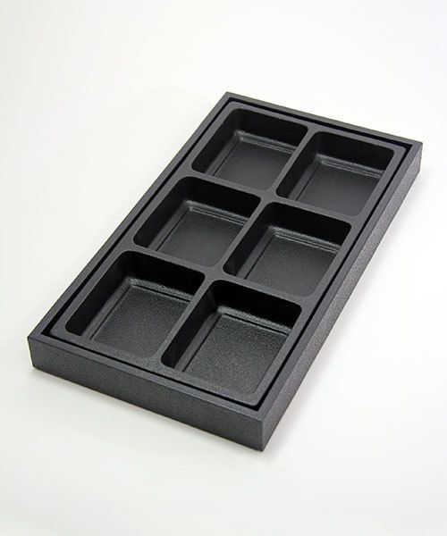 "DIS1806 = Plastic Tray Insert 6 Spaces 1-3/8"" Deep - Black"