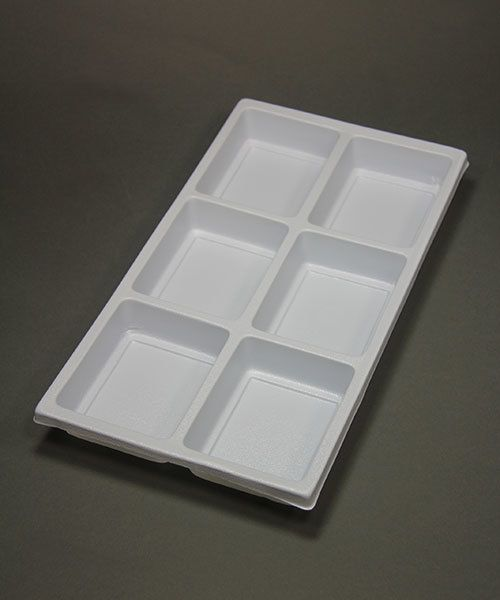"DIS6806 = Plastic Tray Insert 6 Spaces 1-3/8"" Deep - White"