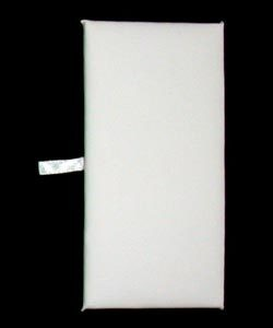 "DIS6935 = White Leatherette Rectangular Display Pad 6"" x 3"" (Pkg of 3)"