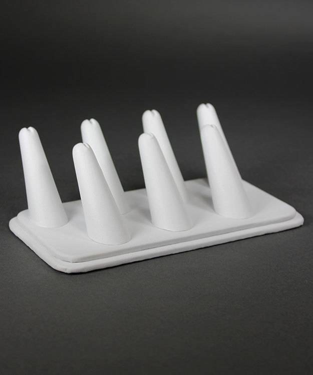 "DRG6437 = White Leatherette Seven Finger Ring Display 6-3/4"" x 3-7/8"""