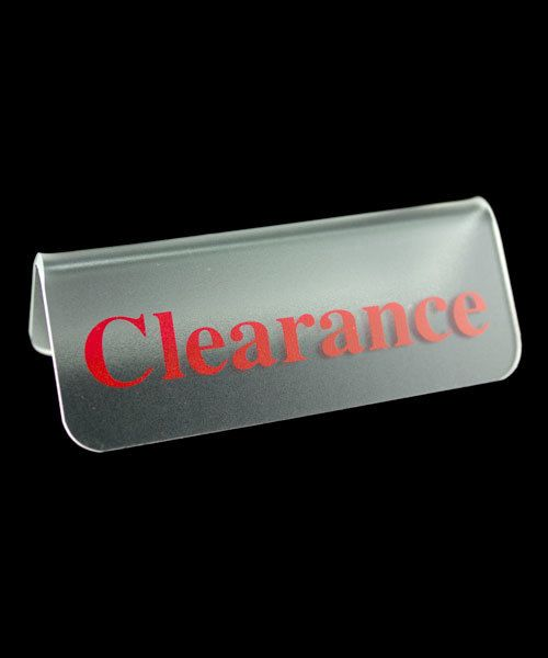 "DSI5501 = Frosted Acrylic Sign with Red Letters 3""x1""  CLEARANCE  (Pkg of 3)"