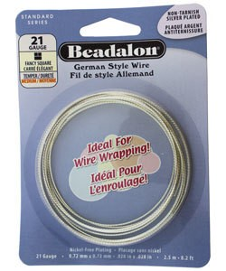 WR5821S = Beadalon German Style Wire 21ga FANCY SQUARE SILVER PLATED 2.5 METER COIL