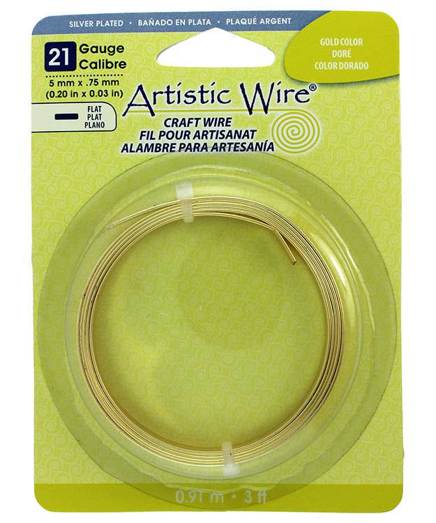 WR47211 = Flat Gold Color Artistic Wire 5.0mm x 0.75mm 3 Foot Coil