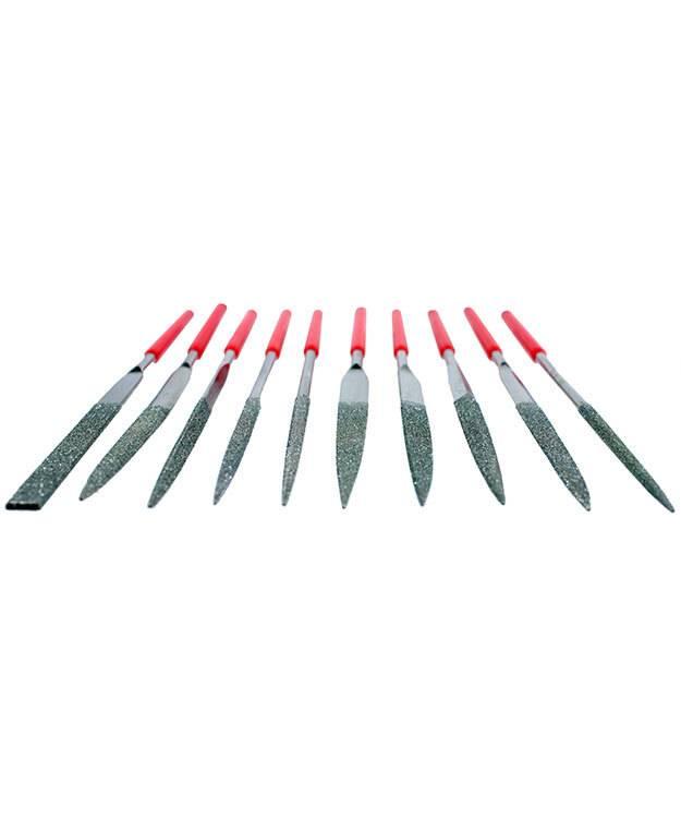 FI9760 = DIAMOND FILE SET-10pc-HALF CUT-180GRIT-140mm
