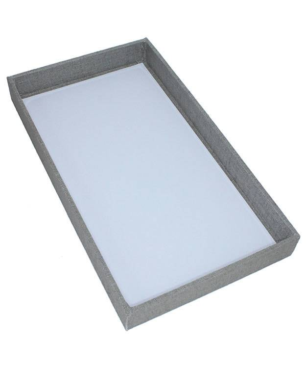 Dtr7001 Grey Linen Covered Display Trays 14 7 8 L X 8 3