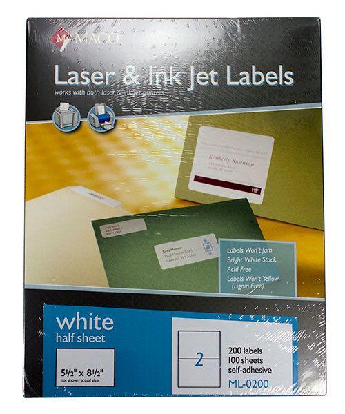 DTA90200 = MACO ALL PURPOSE LABELS 5-1/2'' x 8-1/2'' (200 per box) WHITE