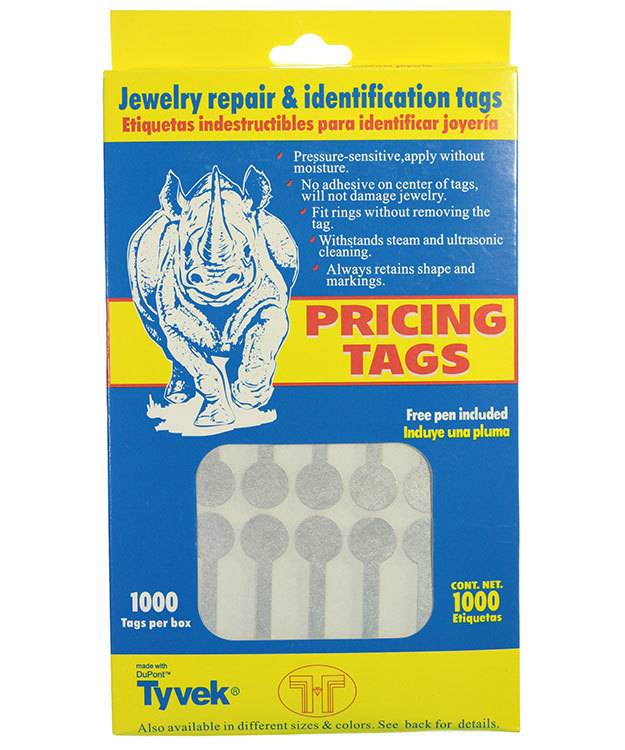 DTA7032 = Silve Tyvek Long Dumbbell Tags 1-7/8'' x 1/2'' (Pkg of 1000)