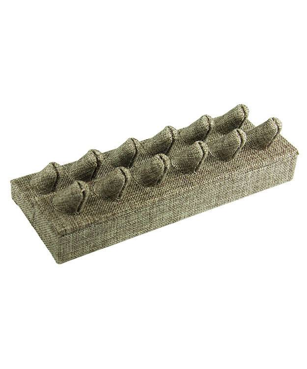 DRG3252 = Burlap Twelve Ring Finger Display 8-3/8'' x 3-1/4'' x 2-3/8''H