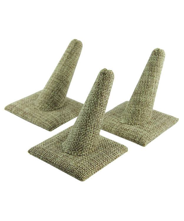 DRG3241 = Burlap Single Ring Finger Display Square Base 2'' x 2-1/2'' x 2-3/8''H (Pkg of 3)