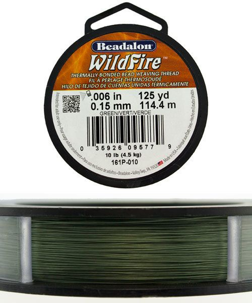 CD3302 = Wildfire .006'' By Beadalon Green 125yds