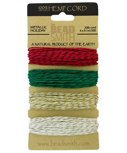 CD6285 = Hemp Cord Metallic HOLIDAY  Assortment Card 1.0mm 20lb TEST